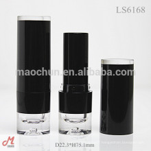 LS6169 With clear top bottom high quality round matte black lip stick case