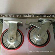 Roulette robuste avec bouchon métallique Bouble Beading Iron Core Roulette PU, roulette industrielle
