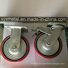Heavy Duty Caster with Metal Cover Bouble Beading Iron Core PU Caster, Industry Caster