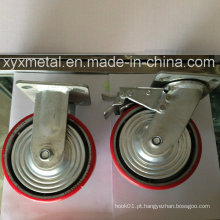 Rodízio pesado com tampa de metal Bouble Beading Iron Core PU Caster, Indústria Caster