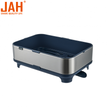 JAH Stainless Steel Dish Rack with Movable Drainer