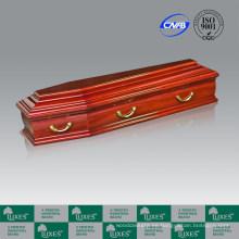Ataúd de funeral de madera de álamo macizo estilo europeo