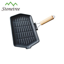 Foldable handle cast iron skillet with seasoning coating