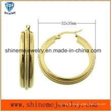 Jóias Shineme Alta qualidade Melhor preço aço inoxidável chapa brinco de ouro Ers6935