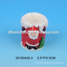 2016 new arrivals,personalized ceramic christmas tealight candle holder with santa figurine