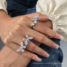 Hot Selling 2020 Fashion Zircon Butterfly Ring Web Celebrity Open Real Gold Color Bracelet