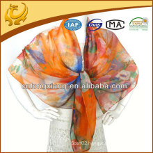 custom design digital printed 8mm silk chiffon scarf