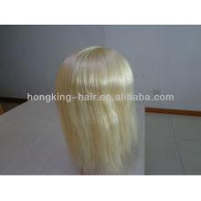 Cabello virginal humano de la remy de 100 mujeres pelo peluca base de seda llena