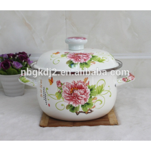 ball shape enamel cookware with elegant decal