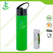 600ml BPA liberan la botella de agua plegable y plegable del silicón, botella de agua de los deportes, botella de agua suave