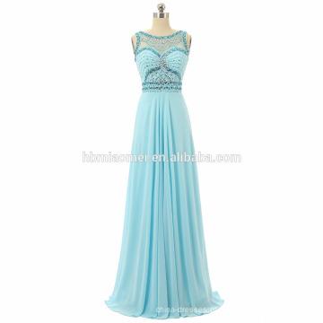 Mulheres sem mangas Evening longo dress 2017 até o chão pesado frisado vestido de baile de formatura atacado