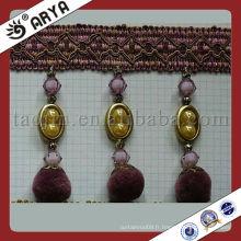 Frange de coupe à rideaux à la main avec perles en plastique et pendentif de pompom