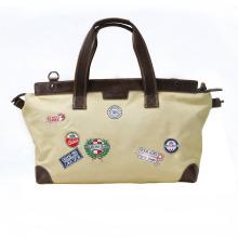Tourbon newest fashion canvas duffle bag outdoor sports leather duffle bag