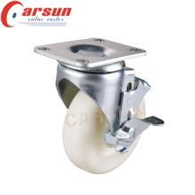 Roulette de roue de pivot de nylon de 150mm de devoir moyen avec le frein latéral