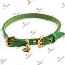 Venta al por mayor de cuero verde del collar del animal doméstico (PC15121405)