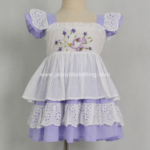 Boutique purple embroidered summer causal baby girl dress
