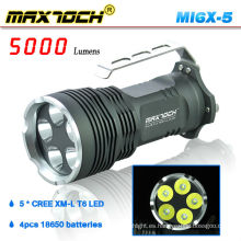 Maxtoch MI6X-5 XML T6 5000 Lumen Mango 5 * Cree Linterna LED Caza
