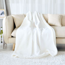 100% cotton 300gsm white full size blanket for baby use
