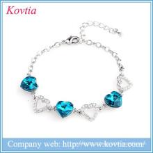 Hot venda sliver jóias amantes colchete coração link safira azul inlay pulseira de cristal para mulheres presente de aniversário