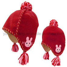 Winter Kid′s Polar Fleece Hat/Cap with Knitting Wool Ball