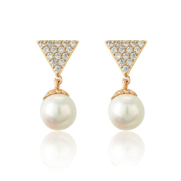 96068 Xuping neue Mode Dame 18K Gold Perle Tropfen Ohrring Schmuck