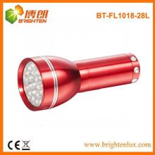Factory Supply 4.5V OEM Red Alumínio Promocionais 28 LED Tocha Lanterna com 3 * AAA Dry Battery