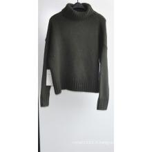 50% de laine d'agneau 50% Nylon Knit Puullover Sweater pour dames