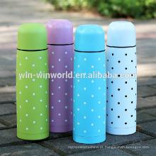 Garrafa de vácuo de aço inoxidável da garrafa dobro colorida relativa à promoção com tampa do copo