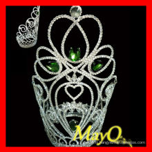 Vert pierre beauté grande grande reine couronne tiare