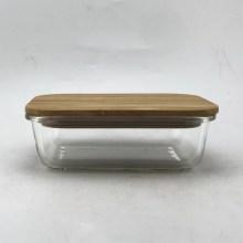 Прямоугольный стеклянный пищевой контейнер с бамбуковой крышкой