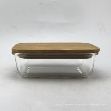 Rectangle Glass Food Container With Bamboo Lid