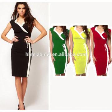 Vêtements en gros Nouveau Design Mode D'été Femmes À Manches Longues Occasionnel Bureau Partie Crayon Stripe Midi Dress