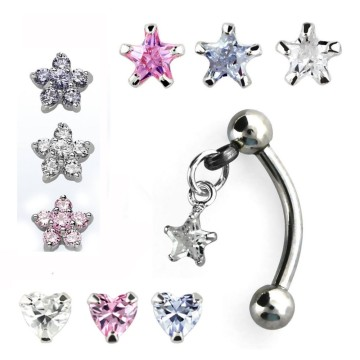 Dangly Gem Flower Star Heart Eyebrow Rings