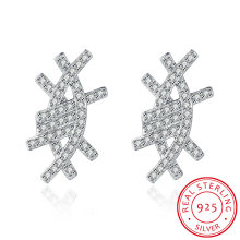 925 Sterling Silver Bardian Eye Shape Ear Stud Zircon Fashion Earring