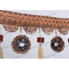 Cortinas de diseño especial de franja de borla para el hogar fabricante de textiles