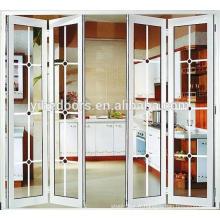 Portes pliantes intérieures en verre accordéon en aluminium à faible émissivité Porte pliante en aluminium à accordéon assorties à faible émissivité