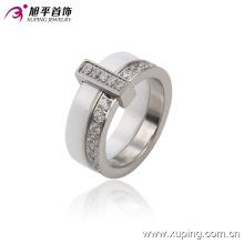 Anillo de dedo redondo de cerámica de la nueva de la joyería del acero inoxidable de la moda para las mujeres -13740