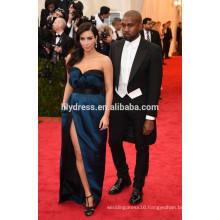 Navy Blue Satin Floor Length Off Shoulder Custom Made Red Carpet Celebration Dresses KD005 high quality kim kardashian dresses