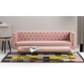 Gold Stainless Steel Couch Velvet Living Room Seating Modern Light Pink Sofa