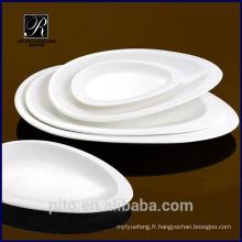 Plateau de porcelaine directe en usine de P & T, plaque ovale pour hôtels