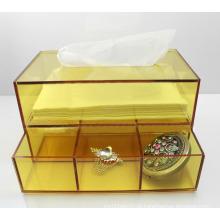 Caixa de lenços de acrílico amarela caixa de guardanapo lucite