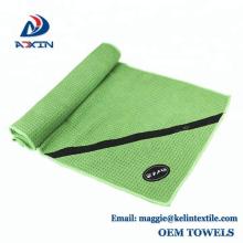 Ultra saugfähiges Premium Mikrofaser Sport Fitness Gym Handtuch mit Reißverschlussfach