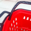 Whole New Design Supermarket Plastic Rolling Shopping Basket with Wheel