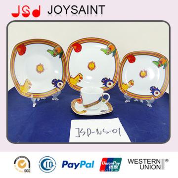 Precio barato 20/30 PCS juego de cena de porcelana fina, nuevo diseño de juegos de mesa cuadrados por mayor