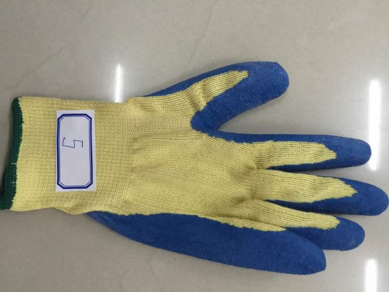 Blue Latex Palm Coated Wrinkle Domestic Para Aramid Gloves