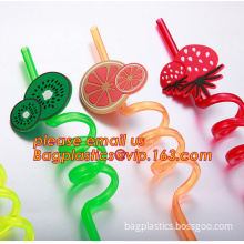 Fruit Decorative PVC/PET Hard Plastic Reusable Crazy Drinking Thick Straw, Reusable Crazy Drinking Thick Straw