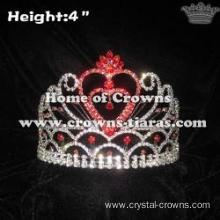 Red Rhinestones Heart Shaped Princess Crowns