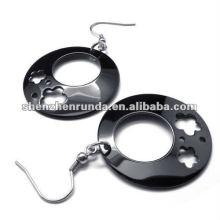 2012 new design black Flowers HOOP style 316L S.Steel earrings