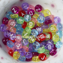 4*7MM Clear Colors Acrylic Mixed Alphabet Letter Round Flat Loose Beads