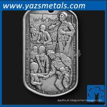 personalize etiquetas de cão de metal, prata de prata de alta qualidade customizada Tag de cão